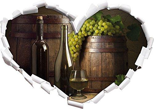 Botti con uva e vino a forma di cuore nel formato aspetto, parete o adesivo porta 3D: 62x43.5cm, autoadesivi della parete, decalcomanie della parete, decorazione della parete