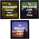 Indianara 3 Piece Set Of Framed Wall Hanging Motivational Office Decor Art (1144) Prints 8.7 Inch X 8.7 Inch Without Glass