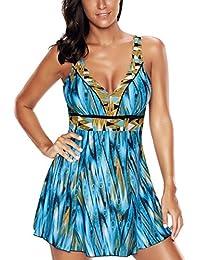 f73b845fd5 Amenxi Ladies Polka Bikini Dress Plus Size Swimwear Retro Beachwear  Halterneck Swimsuit with Boyshort(FBA