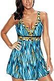 ALICECOCO Damen Neckholder Push Up Badekleid Figurformender Badeanzug mit Röckchen Bauchweg Einteiliger Badekleid (Blau A, EU 46--48)
