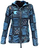 Little Kathmandu Ladies Goth Ribs Blue Slashed Razorcut Pixie Hood Cotton Hoodie