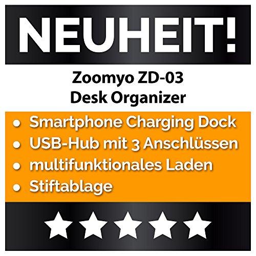 Desk Organizer Schreib-Tisch Ordnungssystem Mit 3 USB Anschlüssen Und Ladefunktion, Passend Für iPhone, Samsung u. a. Smartphones Bis 6 Zoll Von zoomyo - 2