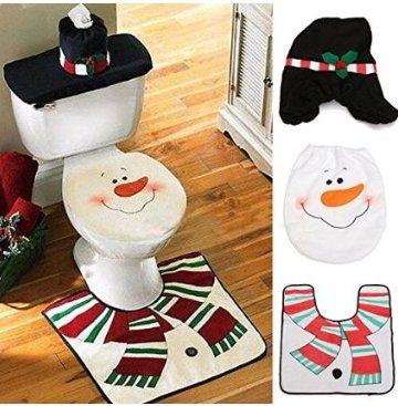 1Set Schneemann WC-Sitz Cover Teppich Tissue Box Badezimmer Set Weihnachten Dekoration Decor (Schneemann-teppich)