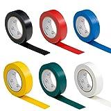 6 Rollen VDE Isolierband Isoband Elektriker Klebeband PVC 15mm x 10m DIN EN 60454-3-1 Sortiment/Set 6 Farben