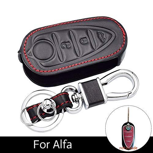 WHXHN Leder Autoschlüssel Fall Schlüsselbund Remote Fob Shell Cover Folding Keys Bag , Für Alfa Romeo Mito Giulietta Auto Zubehör Folding Remote Key Fall