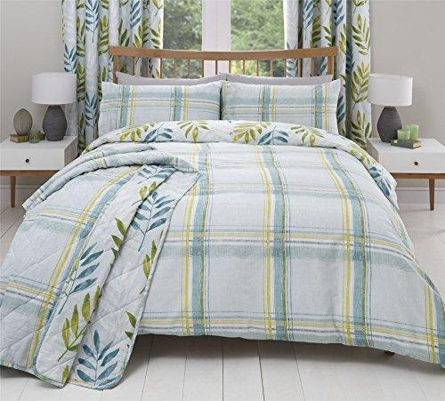 Bürste stroke-style Überprüfen Blatt Blaugrün Single Bettbezug & Ring Top Vorhänge
