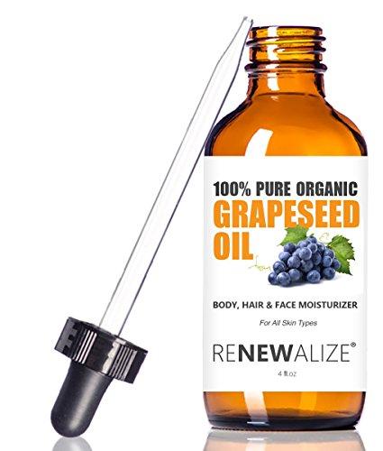 Renewalize Huile de pépins de raisin bio Anti-âge Hydratant - Nettoyant Visage En 4 Bouteille en verre Oz | Non raffiné, pressée à froid 4 Onces Rouge foncé
