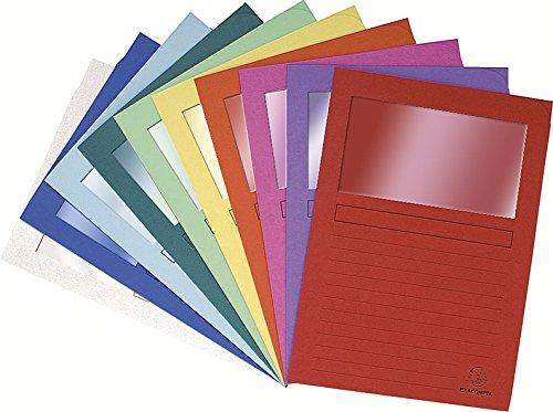 Exacompta - Réf 50000E - Un Paquet de 50 Chemises à Fenêtre FOREVER en Format 22x31 cm 120 g/m² 10 Couleurs Assorties