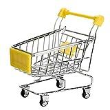 Mini carros de mano de supermercado - SODIAL(R)Mini Carro de compras Carros de mano de supermercado Modo de carros de utilidad de compras Juguete de almacenamiento (Amarillo)