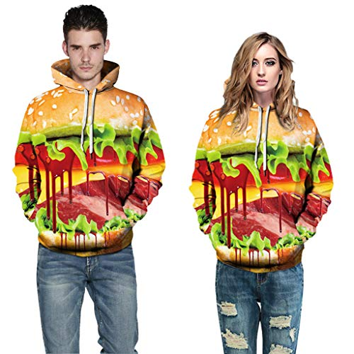 Kostüm King Burger - Yearnly Halloween Herren Damen Kapuzenpullover 3D Burger Druck Langarm Sweatshirt Mode Hoodie Mit Taschen Kapuzenjacke Cartoon Druck Sweatshirt Unisex
