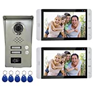 "AMOCAM Wired Video Door Phone Intercom System, 7"" Monitor a full Aluminum Alloy Camera, Support RFID Keyfobs Unlock, Monitoring, Dual Way Talking Video Doorbell Kits, for 2 Units Apartment House"