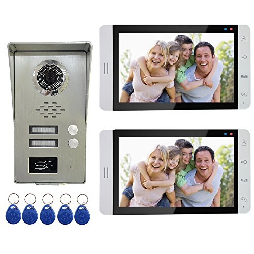 "AMOCAM Wired Video Door Phone Intercom System, 7"" Monitor a full Aluminum Alloy Camera, Support RFID Keyfobs Unlock, Monitoring, Dual Way Talking Video Doorbell Kits, for 2 Units Apartment House"
