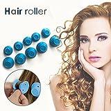 Rizador de Pelo Silicona Rodillos Cabello Rizado Rosa Magic Cuidado del Cabello Rizadores Sin Calor - HaoXuan (Azul)