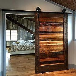 Hahaemall Poulies en acier avec rail de support pour porte coulissante de grange, chambre, salle de bain