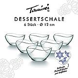 Dessertschale, kleine Müslischale aus Glas, Set mit 6 Schalen, Glasschüssel, Eisschale mit geschwungenem Rand, zum Servieren oder als Deko mit Teelicht