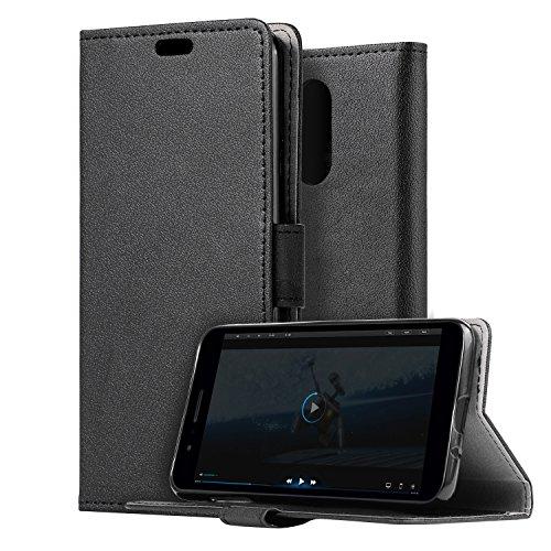 HDRUN LG K9 / LG K8 2018 Leder Hülle - Premium PU Leder Flip Tasche Case mit Kartensteckplätzen und Ständerfunktion Schutzhülle Handyhüllen für LG K8 2018, Schwarz