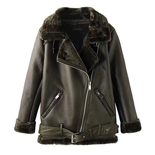iBaste PU Lederjacke Damen Bikerjacke gefüttert Ledermantel damen Lang Kunstlederjacke mit Revers Leather Jacket für damen Herbstjacke-AG-S