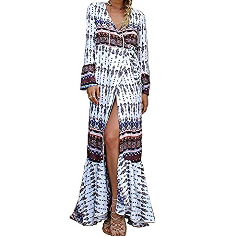 HapiLeap Womens Summer Boho Loose V Neck Beach Cover-up Long Sleeve Side Slip Dress Printed Adjustable Bandage Maxi Dress (Free Size, Style