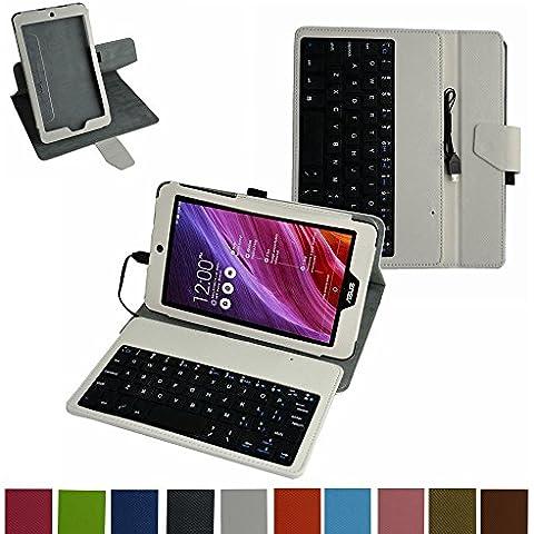 ASUS MeMO Pad 8 ME181C ME181CX micro usb Tastiera Custodia,Mama Mouth rotante Staccabile micro usb Tastiera (layout inglese) custodia in PU di cuoio pelle caso Case per ASUS MeMO Pad 8 ME181C ME181CX Tablet PC,Bianco