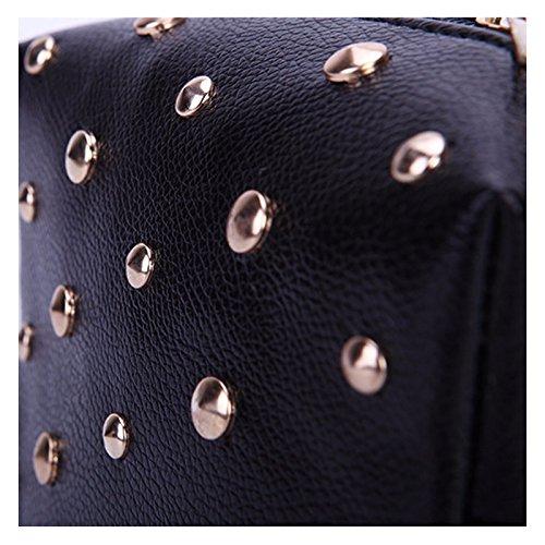 Schultertasche mit goldenen Nieten glänzend Mode elegante Clutch Abendgarderobe Damen Handtasche mit Schlüsselfach hochwertige Schultertasche Umhängtasche Abendtasche Schwarz