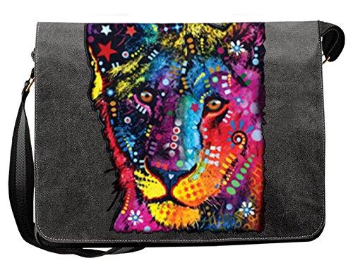 Löwen Motiv Canvas Tasche - Neon Löwenmotiv Canvas Umhängetasche : Young Lion - Freizeittasche Löwe Kunstdruck