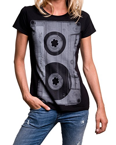 Musik T-Shirt mit Aufdruck KASSETTE schwarz Damen Größe S - 2