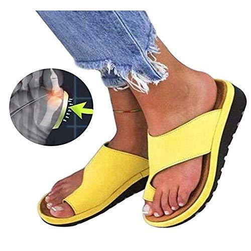 Künstliche PU orthopädische Schuhe Bunion Concealer Bequeme Keil Plattform lässig Damen Finger Fettkorrektur Sandalen,2,37