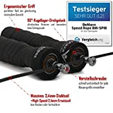 Springseil Speed Rope von BeMaxx Fitness + Trainingsguide & Extra Seil – 2 verstellbare Stahlseile, Profi Kugellager & Anti-Rutsch Griffe - 2
