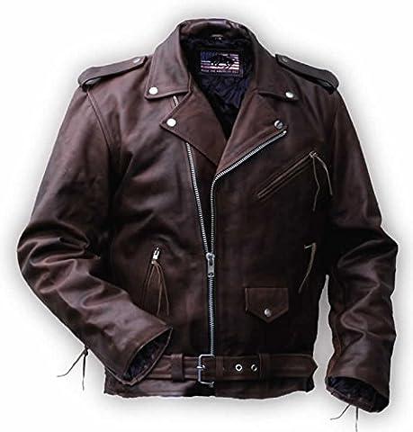 Blouson Rockabilly Marlon Brando en brun, cuir vachette pleine