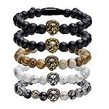 JOVIVI Lava-Armband Reiki-Energietherapie Yoga-Armband Armreif Löwe-Kopf Stein Beads Armband Geflochte Buddha-Armband