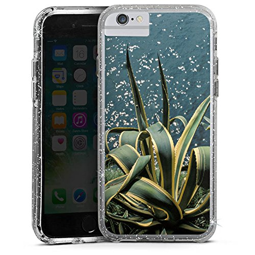 Apple iPhone 6 Plus Bumper Hülle Bumper Case Glitzer Hülle Cactus Kaktus Ufer Bumper Case Glitzer silber