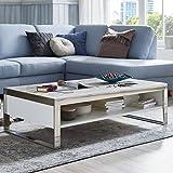 Couchtisch mit Marmor-Platte Modern Chrom weiß matt Norte 120x70x35cm Edelstahl Designer Tisch