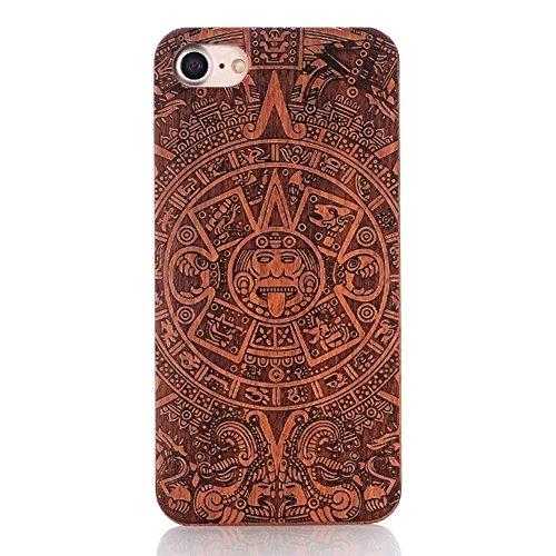 Wooden Case Cover,Vandot Unico Reale Handmade Legno [Naturale WoodBack Lavorato Custodia] Per iPhone 6 Plus / 6S Plus 5.5 Pollici - [Cranio] pattern 7
