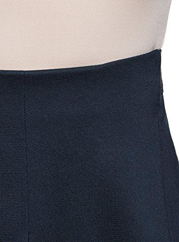 oodji Ultra Damen Faltenrock mit Elastischem Bund Blau (7900N)