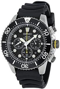 Reloj Seiko SSC021P1 de cuarzo para hombre con correa de caucho, color negro de Seiko