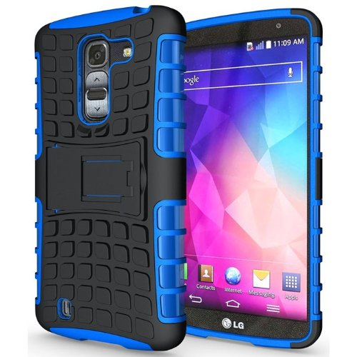 Heartly Flip Kick Stand Hard Dual Armor Hybrid Bumper Back Case Cover For LG G Pro 2 - Blue  available at amazon for Rs.399