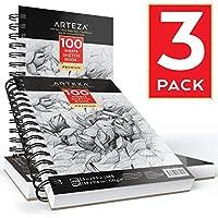 Carnet croquis Arteza | 3 carnets de 14 x 21,6 cm | 300 feuilles en tout (100 g/m2) | Cahier rigide spirale | Papier épais sans acide | Carnet de voyage pour dessiner