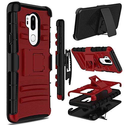 LG G7thinq Fall, LG G7Fall, zenic Robuste Stoßfest Hybrid Fullbody Case Schutz Hülle Cover mit drehbarem Gürtelclip und ausklappbarem Ständer für LG G7+ thinq/LG lm-g710, Rot/Schwarz Swivel Clip Carry Sleeve