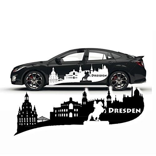 Dresden Autoaufkleber Skyline Frauenkirche Goldener Reiter Stadt Silhouette Sticker Cardesign |SKD018 (Reiter-silhouette)