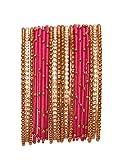 NMII Magenta Silk Thread Bangle Set For Women