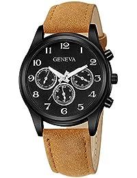 Darringls_Reloj Geneva,Reloj de Madera para Mujer Cuarzo Japonés y con la Correa de Cuero