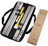 ROMANTICIST 1cm Flat Metal Barbecue Skewers - 42cm Stainless Steel Grilling BBQ Stick Skewers with Basting Pastry Brush - 15Pcs BBQ Grill Tools Accessories Set in Handy Storage Pouch