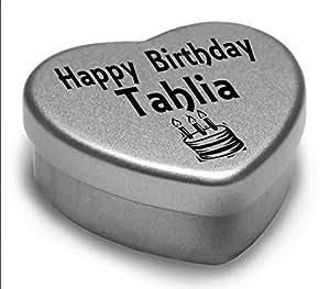 Happy Birthday Tahlia Mini Cœur Boîte Cadeau pour Tahlia avec chocolats. Cœur Argenté/étain. Compatible avec Superbe dans la paume de votre main. Cadeau d'anniversaire idéal pour montrer quelqu'un vous les Thinking Of.