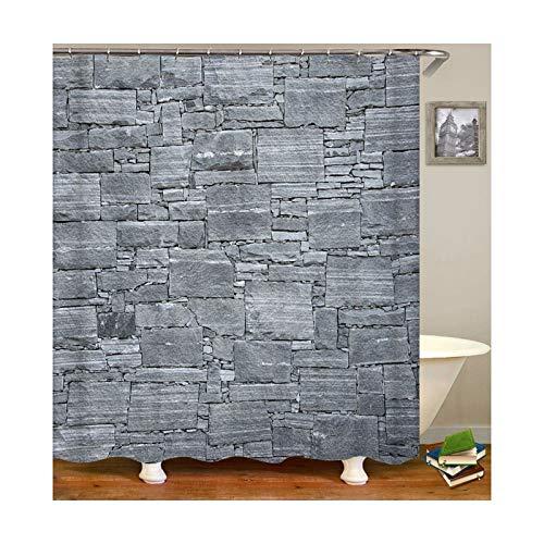 Daesar Polyester-Stoff Badvorhang Vintage Wand 3D Duschvorhang Antischimmel 180x180 cm