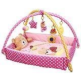 CHANG Baby Game Pad, Jouets pour Bébés, Gymnastique Musicale Multifonctionnelle, Lit Bébé, Matériel pour l'environnement, Non Toxique, Respirant,Pink,L43.3 * 43.3 * 19.6