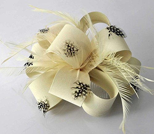 LeahWard Herrlich Lovely Feather & Blumendruck Fascinator On Comb Fashion Qualität Racing Festival Garden Party CWH00178 Ivory