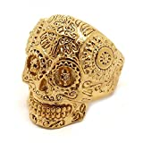 BOBIJOO Jewelry - Bague Chevalière Homme Tête de Mort Biker Maya Sculpté Croix Acier Doré Or Fin - 63 (10 US), Doré Or Fin - Acier Inoxydable 316