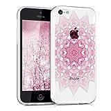 kwmobile Cover compatibile con Apple iPhone 5C - Back Case custodia posteriore in silicone TPU per smartphone - Backcover rosa / bianco / trasparente