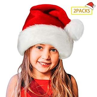 2 paquetes de gorro de Papá Noel, gorro navideño de felpa suave, gorro navideño de Navidad para adultos, gorros navideños Unisex de terciopelo confort, piel clásica extra gruesa para Navidad Año Nuevo