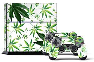 247Skins - Sticker de Protection pour Console PS4 Playstation 4 Sony + 2 Stickers pour Manette PS4 Sony - Weeds White